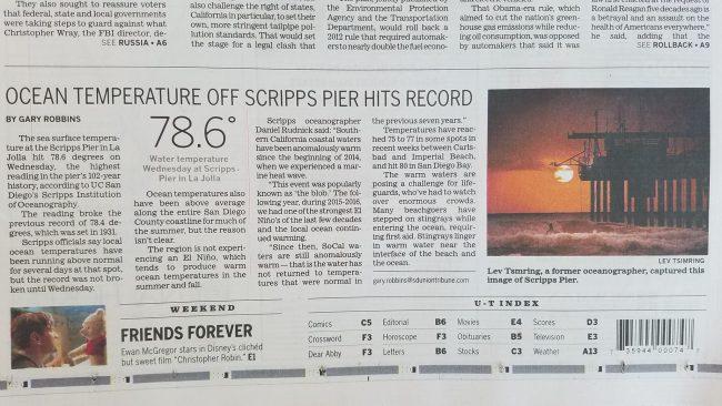 San Diego Union-Tribune August 3, 2018