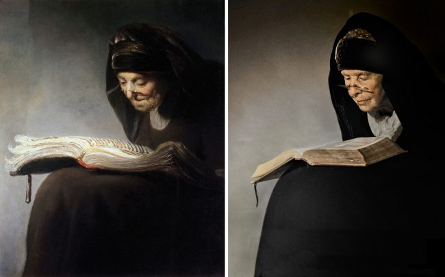 Rembrandt van Rijn. Old woman reading (1629)