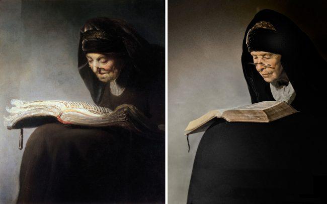 Rembrandt van Rijn. Old woman reading (1629)