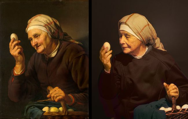 Hendrick Bloemaert. Old woman selling eggs (1632)